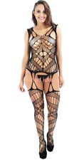 Sexy Lingerie Womens Floral BLK Fishnet Bodysuit Body Stocking Teddy Suspenders