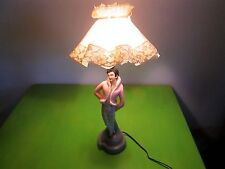 Mid Century 1950's Pink/Man Lady Figure Chalk Ware Lamp Boudair Sexy Pin Up