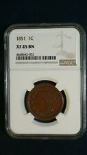 1851 Braided Hair Large Cent NGC XF45 BN 1C Coin PRICED TO SELL NOW!