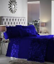 5 Pc Duvet Cover Set Sequin Design Royal Blue Egyptian Cotton Olympic Queen Size