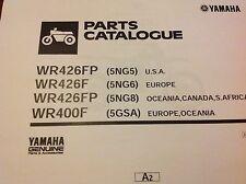 Yamaha WR 400 F Manual de lista de piezas Catálogo Papel Encuadernado copia 2002 5GSA Oceanía.