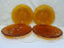 Vintage Lot 6 Indiana Glass Pebble Leaf Amber Salad Luncheon Plates Free S/H