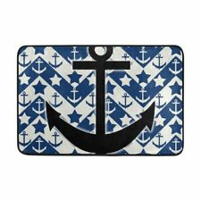 Blue Background Black Boat Anchor Bathroom Mat Quick-drying Water Bath Mat