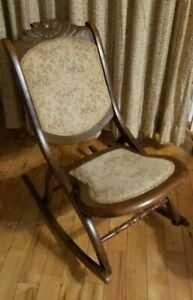 Antique Tapestry Carved Wood Folding Rocking Chair Victorian Small