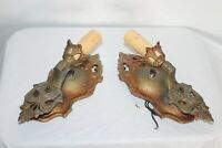 Antique Pair Art Deco Wall Sconce Lighting Fixtures Gothic Medieval Style Metal