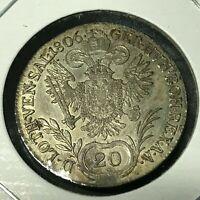 AUSTRIA 1806-B SILVER 20 KREUZER BETTER GRADE COIN