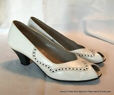 Sweet Vintage Bruno Magli White Peep Toe Heels w Black Accents Size 5.5