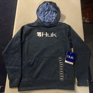 New Huk Performance Fishing Youth Small Navy Blue Hooded Hoodie Sweatshirt