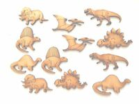 12x WOODEN DINOSAUR SHAPES gift tag craft card making scrapbook embellishment