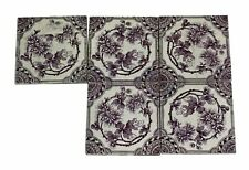 Antique Purple & White Floral Tile Set