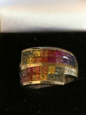 9ct White Gold Multi Rainbow Fancy Sapphire Diamond Crossover Ring Size M/N 7.3g