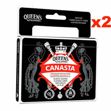 2 x Queen's Slipper Canasta Playing Cards Casino Quality Plastic 2x Double Decks