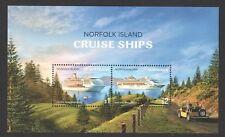 AUSTRALIA NORFOLK ISLAND 2018 CRUISE SHIPS SOUVENIR SHEET OF 2 STAMPS FINE USED