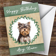 Yorkshire Terrier Dog Green Animal Personalised Birthday Card