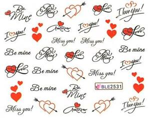 2X Valentines Day Nail Art Water Decal Love Manicure Transfer Stickers