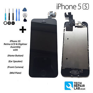 NEW iPhone 5S LCD Digitiser Touch Screen Fully Assembled with Parts - BLACK