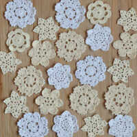 30 Hand Crochet Small Doilies Lot in bulk Christmas Snowflakes Petals for crafts