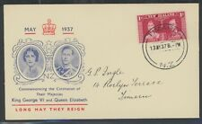 New Zealand, Fdc, #223, Coronation, W/Clean Red & Blue Cachet, 1937