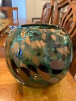 "VINTAGE MURANO EMERALD GREEN GOLD FLECKS 6.5"" ART GLASS BOWL MODERN"