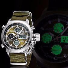 OHSEN Army Analog Digital Quartz Nylon Green Mens Sport Wrist Watch Waterproof