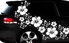 108-teiliges Auto Aufkleber Hibiskus Blumen Schmetterlinge HAWAII WANDTATTOO l2p