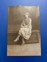 Early 1900s Real Photo Postcard - Lady On A Bench