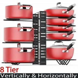 8 Tier Kitchen Pan Stand Saucepan Pot Rack Holder Chrome New By Home Discount