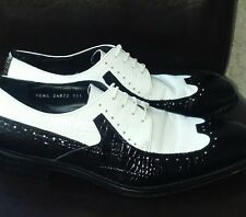 *STACY ADAMS* Melville Black & White Wing Tip Mens Dress Shoes 9.5 Rockabilly