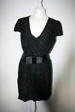 Milly Of New York Negro Viscosa Con Cinturón Vestido Cóctel BNWT RRP £ 599 Talla 10 EE. UU. 6