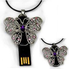 Farfalla USB Stick 4 GB APRIBILE Gioielli Ciondolo Catena Strass Butterfly