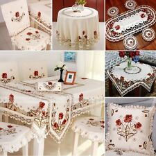 yazi Embroidered Flower Tablecloth Decor Cover Pillowcase Table Runner Placemat