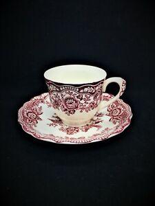 Vintage CROWN DUCAL Red Pink BRISTOL Pattern Cup & Saucer Cream Background