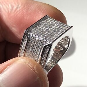 Mens iced out pinky ring Mens Ring Sterling Silver 925 Signat ring unisex ring