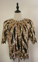 VINTAGE 80'S ~ Black Gold Sequinned Beaded Evening Top Very Dynasty! 14