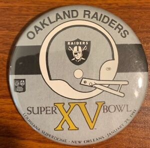 Vintage Oakland Raiders Super Bowl XV Button Free Shipping