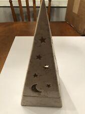 Partylite 2-Piece Galaxy Moon & Stars Pyramid Tea Light Candle Holder No Box