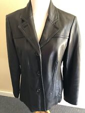 Avanti Women's Lined Chocolate Brown Leather Jacket 3-Button Down Size Large