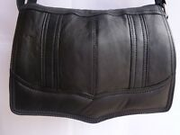 Soft Leather Flap over Shoulder Bag Cross Body Black with Many Features