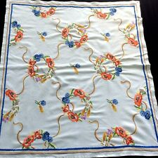 "Vintage Vivid Colour Embroidered Linen Tablecloth Crewel Work 40"" x 44"""