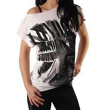 Damen Shirt Strickshirt Feinstrick ärmellos Print London weiss Neu 34 36 38