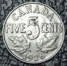 OLD CANADIAN COIN - 1926 FAR 6 - FIVE CENTS - George V - KEY DATE - RARE