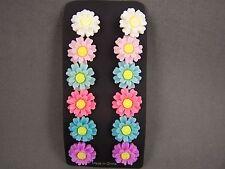 """set pack of 6 pair daisy flower floral post stud earrings 5/8"""" wide metal back"""