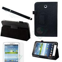 Pellicola+Pennino+Custodia pelle NERA Stand per Samsung Galaxy Tab 3 7.0 7 T2100