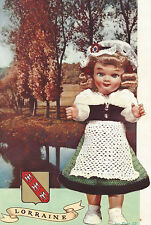"""Vintage Crochet PATTERN to make Doll Clothes Dress Hat Apron Shawl France 10"""" Lo"""