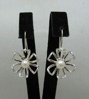 Sterling Silber Ohrringe Blumen mit Perlen massiv punziert 925 handgefertigt