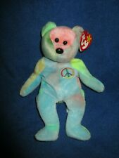"""TY Beanie Baby- PEACE THE TIE DYED TEDDY BEAR -8.5"""" - SURFACE WASH STICKER"""