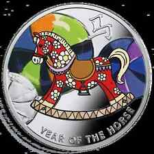 2014 Niue, $1 Year of the Horse, Baby Rocking Horse, Lunar calendar Silver coin