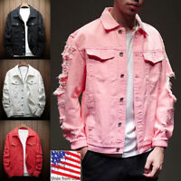 Men Distressed Ripped Denim Jacket Blazer Casual Retro Trucker Jean Coat Top Lot