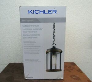 New Kichler Transitional Clear Glass Outdoor Pendant Light Open Box  MH