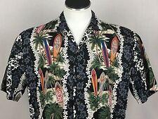 Ky's Made in Hawaii Large Hawaiian Aloha Shirt Surboards Coconut Trees Hibiscus